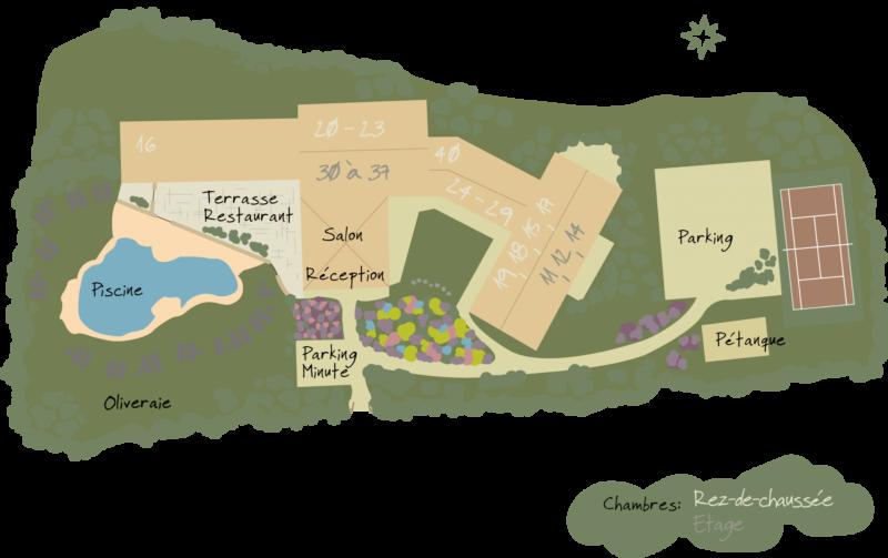 Carte de l'hôtel avec pisine en Provence